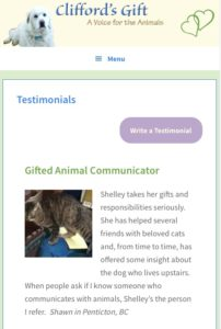 Clifford's Gift Testimonial Page Mobile View