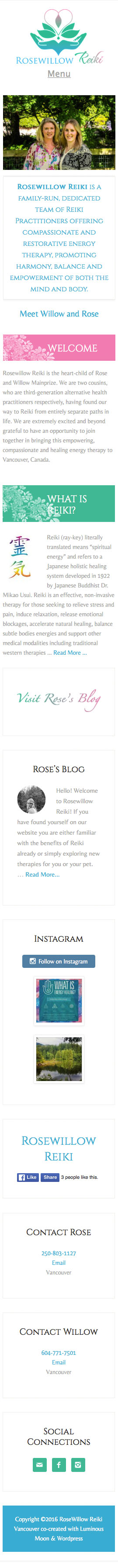 RoseWillow Reiki Mobile View